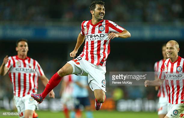 David Villa of Melbourne City celebrates a goal during the round one ALeague match between Sydney FC and Melbourne City at Allianz Stadium on October...