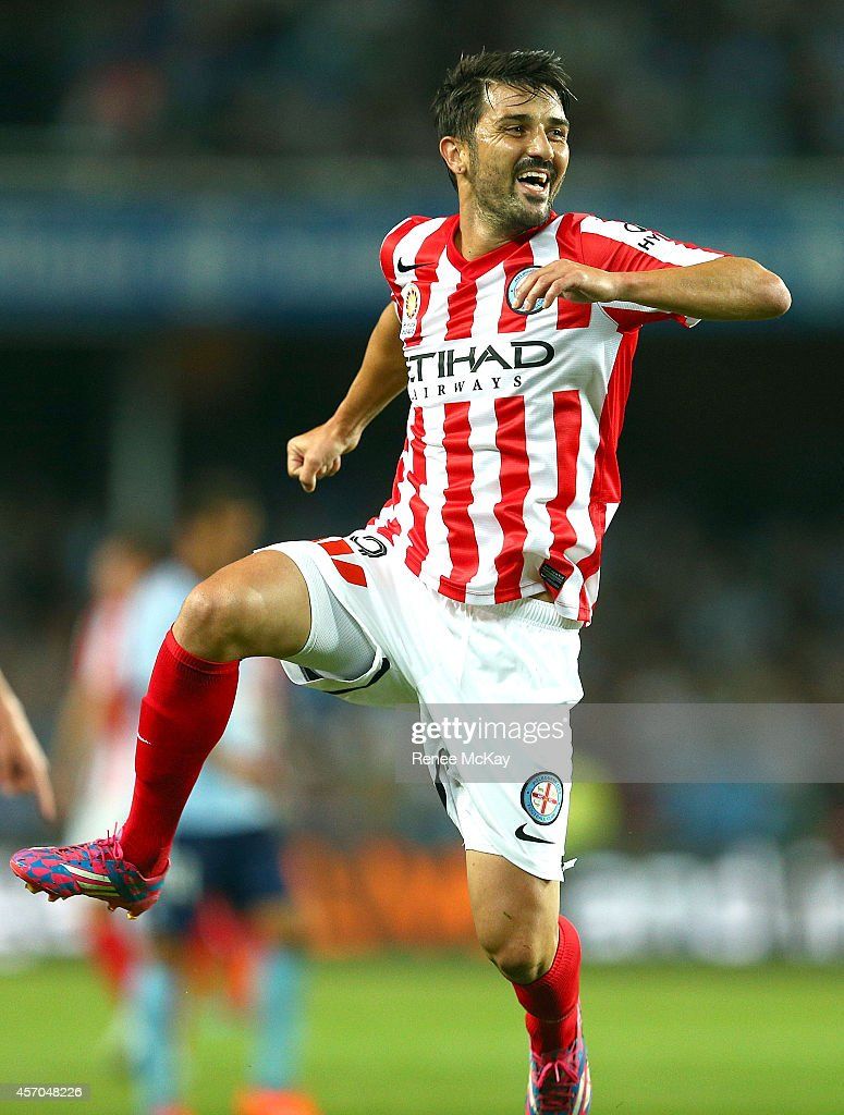 <a gi-track='captionPersonalityLinkClicked' href=/galleries/search?phrase=David+Villa&family=editorial&specificpeople=467566 ng-click='$event.stopPropagation()'>David Villa</a> of Melbourne City celebrates his goal during the round one A-League match between Sydney FC and Melbourne City at Allianz Stadium on October 11, 2014 in Sydney, Australia.