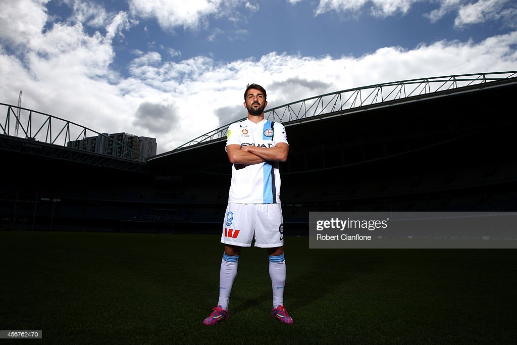 <a gi-track='captionPersonalityLinkClicked' href=/galleries/search?phrase=David+Villa&family=editorial&specificpeople=467566 ng-click='$event.stopPropagation()'>David Villa</a> of Melbourne City poses during the A-League 2014-15 Season launch at Etihad Stadium on October 7, 2014 in Melbourne, Australia.