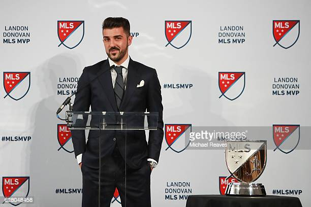 David Villa of New York City FC addresses the crowd after being presented with the 2016 Landon Donovan MLS MVP trophy at Spring Studios on December 6...