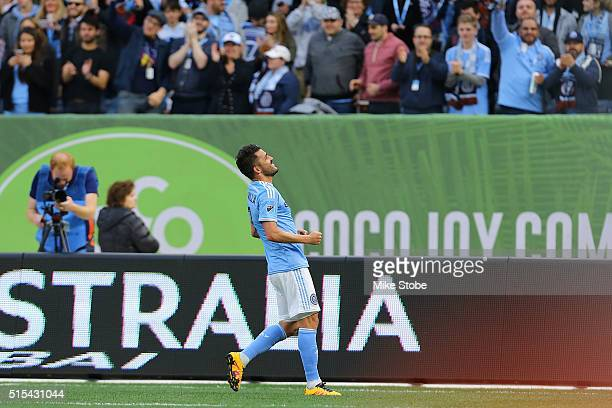 David Villa of New York City FC celebrates his goal from the penalty spot against the Toronto FC at Yankee Stadium on March 13 2016 in the Bronx...