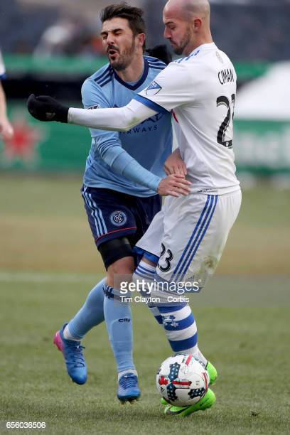 David Villa of New York City FC clashes with Laurent Ciman of Montreal Impact during the New York City FC Vs Montreal Impact regular season MLS game...