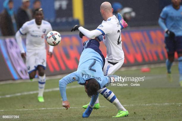 David Villa of New York City FC is fouled by Laurent Ciman of Montreal Impact during the New York City FC Vs Montreal Impact regular season MLS game...
