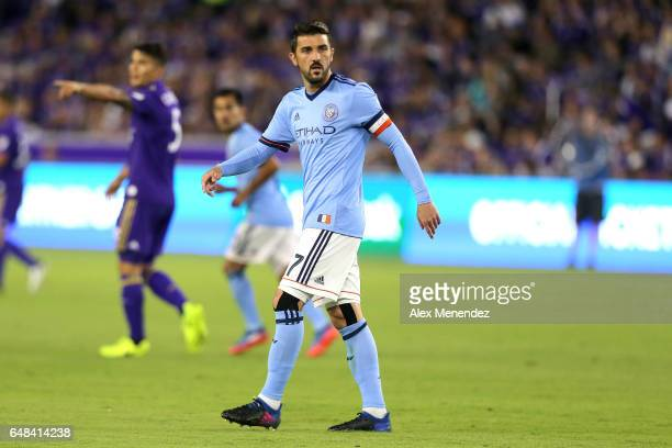 David Villa of New York City FC is seen on the field during a MLS soccer match between New York City FC and Orlando City SC at the Orlando City...