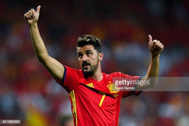 David Villa of Spain acknownledges the fans during the FIFA 2018 World Cup Qualifier between Spain and Italy at Estadio Santiago Bernabeu on...