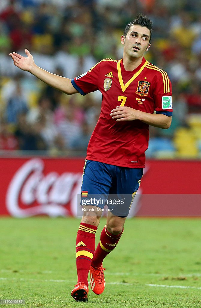 <a gi-track='captionPersonalityLinkClicked' href=/galleries/search?phrase=David+Villa&family=editorial&specificpeople=467566 ng-click='$event.stopPropagation()'>David Villa</a> of Spain celebrates during the FIFA Confederations Cup Brazil 2013 Group B match between Spain and Tahiti at the Maracana Stadium on June 20, 2013 in Rio de Janeiro, Brazil.