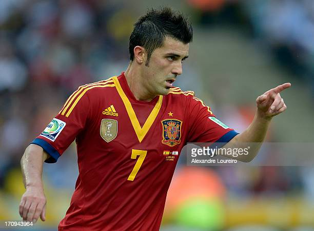 David Villa of Spain celebrates scoring his team's fourth goal during the FIFA Confederations Cup Brazil 2013 Group B match between Spain and Tahiti...