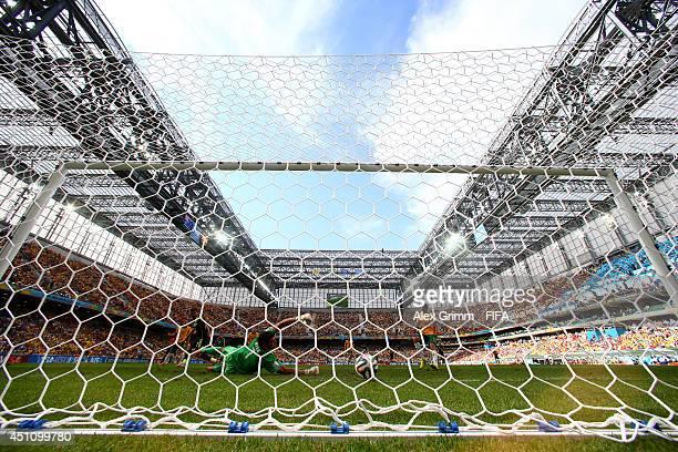 David Villa of Spain scores his team's first goal past Mathew Ryan of Australia during the 2014 FIFA World Cup Brazil Group B match between Australia...