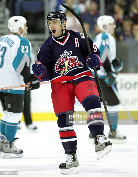 David Vyborny of the Columbus Blue Jackets celebrates after scoring a goal against the San Jose Sharks in the first period at Nationwide Arena on...