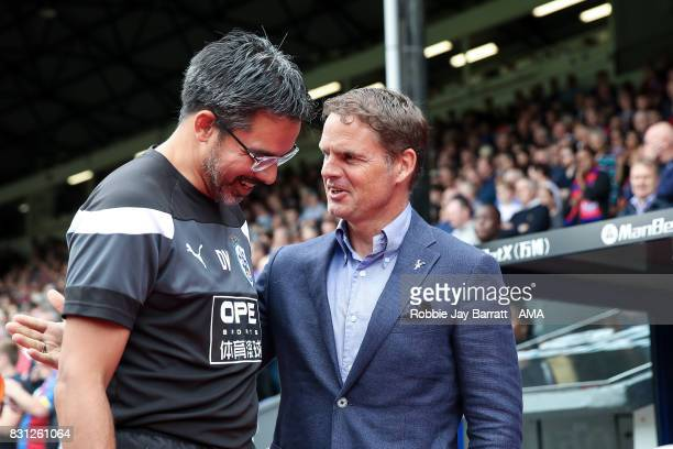 David Wagner head coach / manager of Huddersfield Town and Frank de Boer head coach / manager of Crystal Palace during the Premier League match...