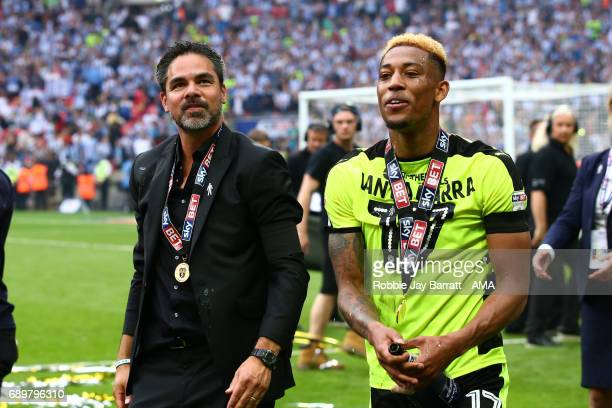 David Wagner head coach / manager of Huddersfield Town and Rajiv Van La Parra of Huddersfield Town during the Sky Bet Championship Play Off Final...