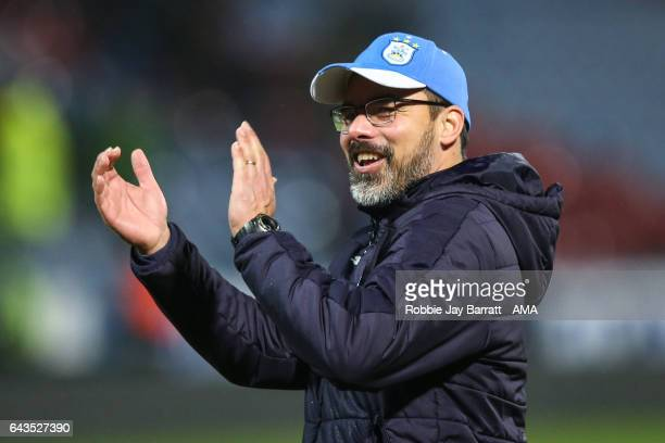 David Wagner head coach / manager of Huddersfield Town applauds the fans at full time during the Sky Bet Championship match between Huddersfield Town...