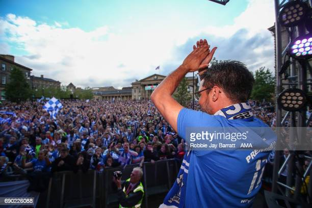 David Wagner head coach / manager of Huddersfield Town applauds the fans on May 30 2017 in Huddersfield England David Wagner