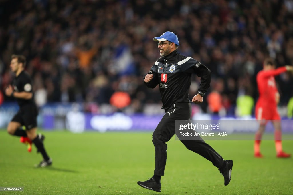 David Wagner head coach / manager of Huddersfield Town celebrates as he runs on to the pitch at full time during the Premier League match between Huddersfield Town and West Bromwich Albion at John Smith's Stadium on November 4, 2017 in Huddersfield, England.