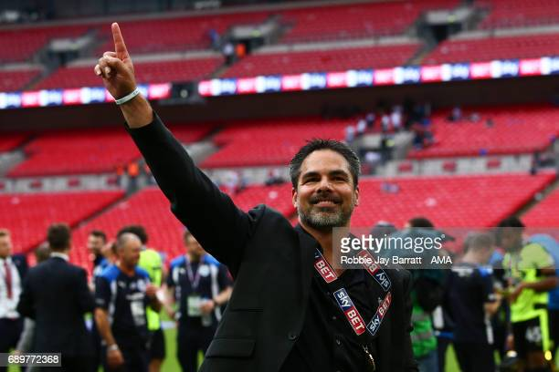 David Wagner head coach / manager of Huddersfield Town celebrates during the Sky Bet Championship Play Off Final match between Reading and...