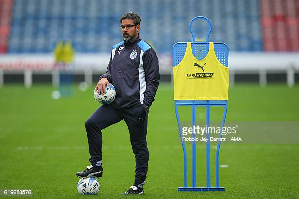 David Wagner head coach / manager of Huddersfield Town during the Huddersfield Town Open Training Session at The John Smiths Stadium on October 27...