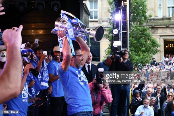 David Wagner head coach / manager of Huddersfield Town lifts the Sky Bet Championship Play off final trophy on May 30 2017 in Huddersfield England