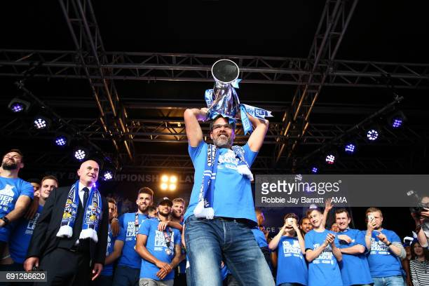 David Wagner head coach / manager of Huddersfield Town lifts the Sky Bet Championship play off trophy on May 30 2017 in Huddersfield England David...