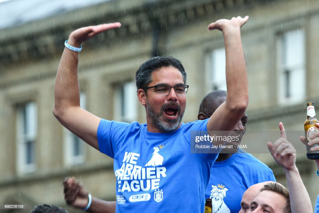 David Wagner head coach / manager of Huddersfield Town on the open top bus on May 30, 2017 in Huddersfield, England. (Photo by Robbie Jay Barratt - AMA/Getty Images) David Wagner