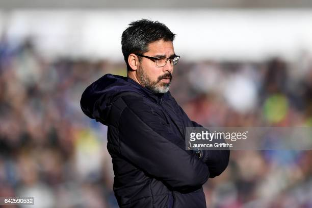 David Wagner looks on during The Emirates FA Cup Fifth Round match between Huddersfield Town and Manchester City at John Smith's Stadium on February...