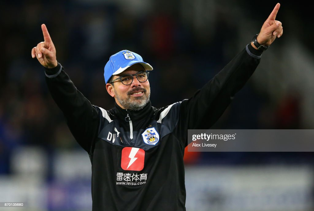 David Wagner, Manager of Huddersfield Town celebrates after the Premier League match between Huddersfield Town and West Bromwich Albion at John Smith's Stadium on November 4, 2017 in Huddersfield, England.