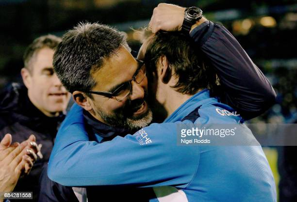 David Wagner Manager of Huddersfield Town celebrates his teams victory after the Sky Bet Championship play off semi final second leg match between...