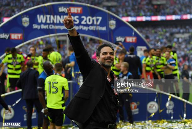 David Wagner Manager of Huddersfield Town celebrates promotion to the Premier League after the Sky Bet Championship play off final between...
