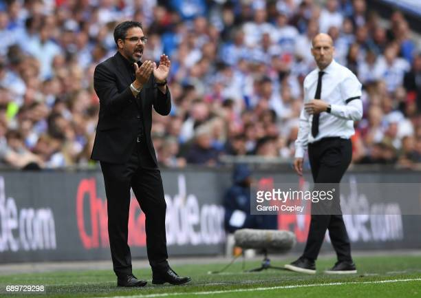 David Wagner Manager of Huddersfield Town gives his team instructions during the Sky Bet Championship play off final between Huddersfield and Reading...