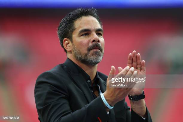 David Wagner Manager of Huddersfield Town gives his team instructions after the Sky Bet Championship play off final between Huddersfield and Reading...