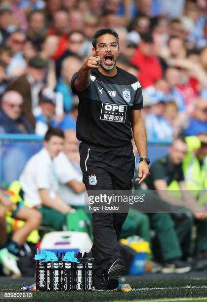 David Wagner Manager of Huddersfield Town gives his team instructions during the Premier League match between Huddersfield Town and Southampton at...