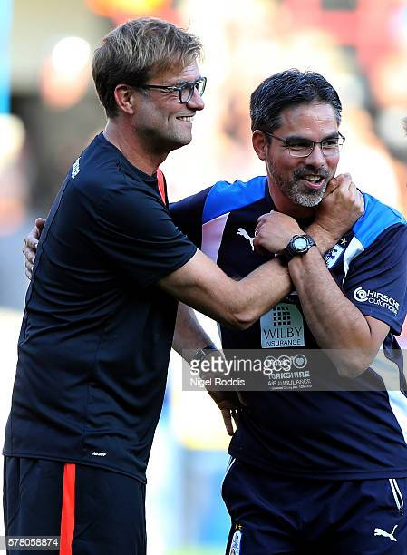 David Wagner manager of Huddersfield Town greets Juergen Klopp manager of Liverpool prior the PreSeason Friendly match between Huddersfield Town and...