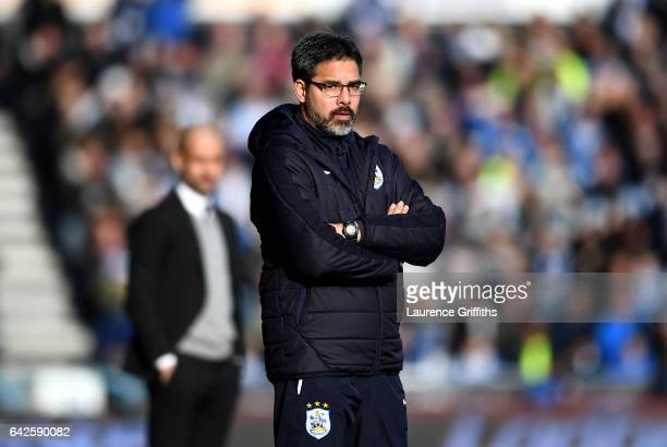 David Wagner Manager of Huddersfield Town looks on during The Emirates FA Cup Fifth Round match between Huddersfield Town and Manchester City at John...
