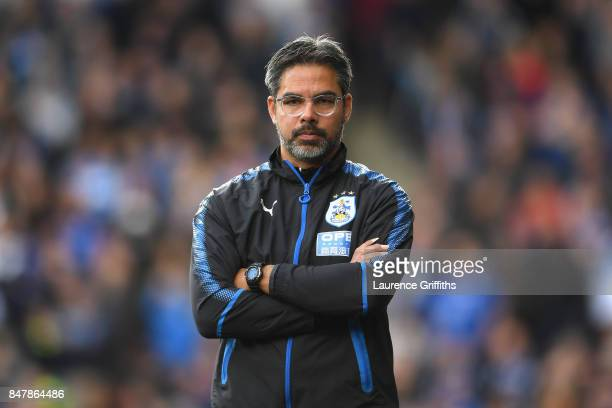 David Wagner Manager of Huddersfield Town looks on during the Premier League match between Huddersfield Town and Leicester City at John Smith's...