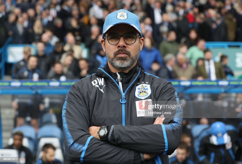 David Wagner, manager of Huddersfield Town looks on during the Premier League match between Huddersfield Town and Manchester United at John Smith's Stadium on October 21, 2017 in Huddersfield, England.