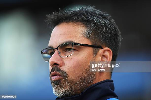 David Wagner Manager of Huddersfield Town looks on during the Sky Bet Championship match between Aston Villa and Huddersfield Town at Villa Park on...