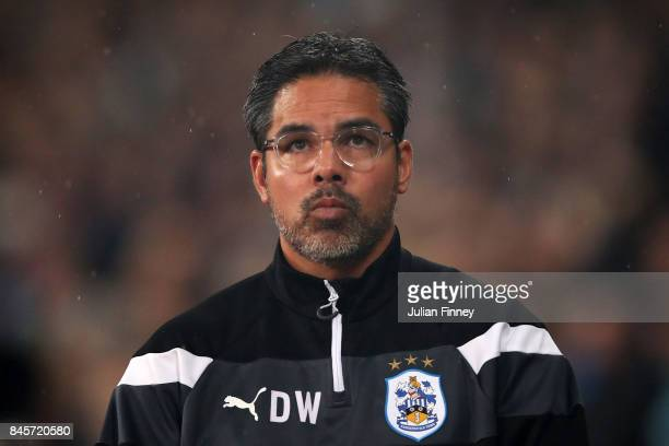 David Wagner Manager of Huddersfield Town looks on prior to the Premier League match between West Ham United and Huddersfield Town at London Stadium...
