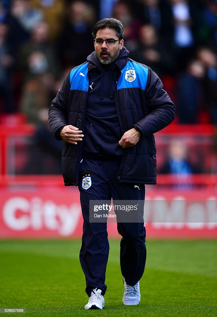 David Wagner, Manager of Huddersfield Town looks on prior to the Sky Bet Championship match between Bristol City and Huddersfield Town at Ashton Gate on April 30, 2016 in Bristol, England.