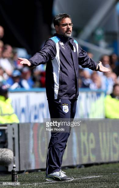David Wagner Manager of Huddersfield Town reacts during the Sky Bet Championship Play Off Semi Final 1st leg match between Huddersfield Town and...