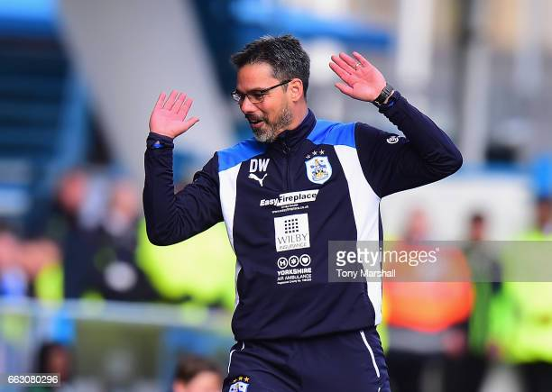 David Wagner Manager of Huddersfield Town reacts to the referees decision during the Sky Bet Championship match between Huddersfield Town and Burton...