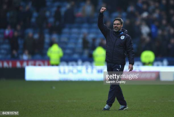 David Wagner Manager of Huddersfield Town shows appreciation to the fans after The Emirates FA Cup Fifth Round match between Huddersfield Town and...