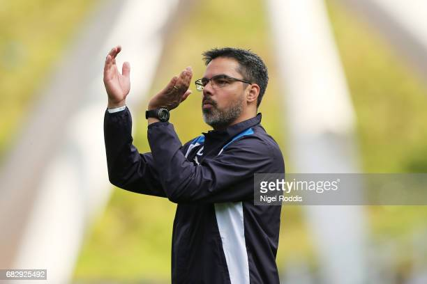 David Wagner Manager of Huddersfield Town shows appreciation to the fans after the Sky Bet Championship Play Off Semi Final 1st leg match between...