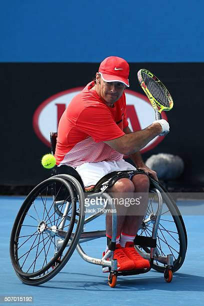 David Wagner of Australia competes in his first round match against Lucas Sithole of South Africa during the Australian Open 2016 Wheelchair...