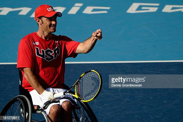 David Wagner of the United States celebrates during the Quad Doubles Wheelchair Tennis Gold Medal match on day 7 of the London 2012 Paralympic Games...
