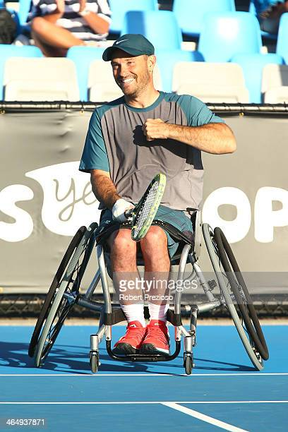 David Wagner of the United States celebrates winning the Quad Wheelchair Singles Final against Lucas Sitole of the United States during the 2014...
