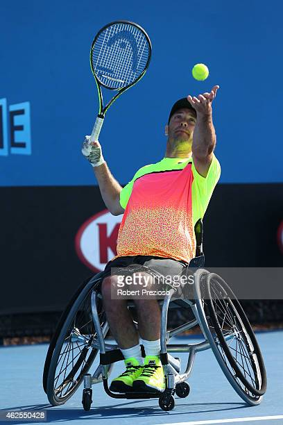 David Wagner of the United States in action in his match against Dylan Alcott of Australia during the Australian Open 2015 Wheelchair Championships...
