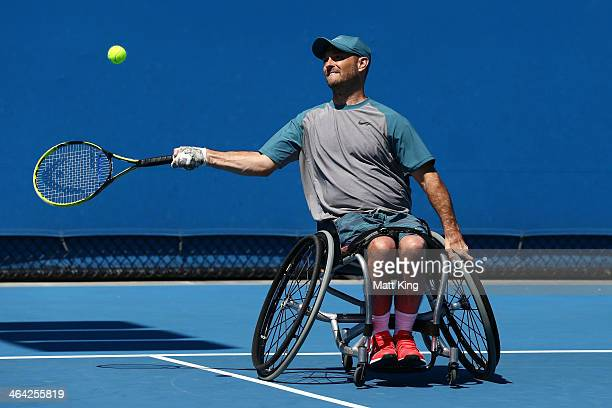 David Wagner of the United States plays a forehand in his Quad Wheelchair Singles match against Dylan Alcott of Australia during the 2014 Australian...