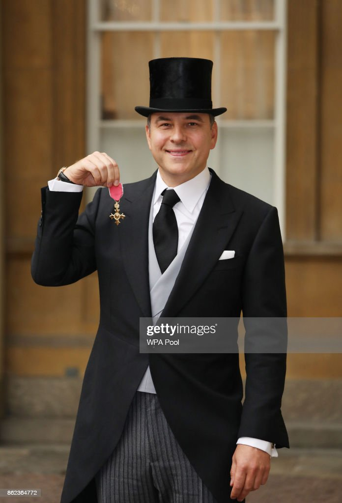 David Walliams after he was awarded an OBE for services to charity and the arts by the Princess Royal during an Investiture ceremony at Buckingham Palace, on October 17, 2017 in London.
