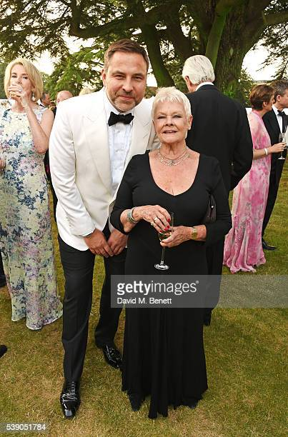 David Walliams and Dame Judi Dench attend the Duke of Edinburgh Award 60th Anniversary Diamonds are Forever Gala at Stoke Park on June 9 2016 in...