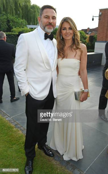 David Walliams and Elizabeth Hurley attend the Woodside Gallery Dinner in benefit of Elton John AIDS Foundation in partnership with BVLGARI at...