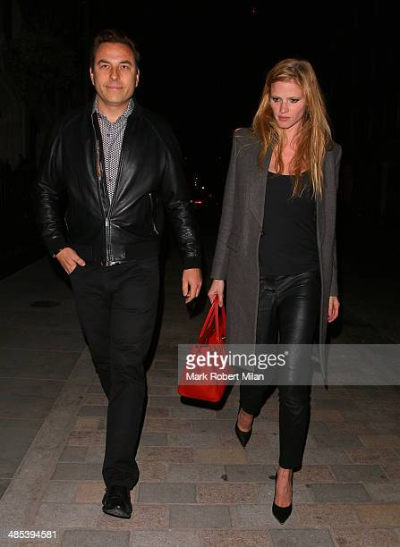 David Walliams and Lara Stone at the Chiltern Firehouse on April 17 2014 in London England